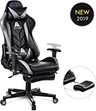 AA Products Gaming Chair High Back Ergonomic Computer Racing Chair Adjustable Office Chair with Footrest, Lumbar Support Swivel Chair - Grey