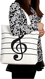 HOODDEAL Women's Girls' Music Symbols Print Canvas Tote Shopping Handbags Shoulder Bags