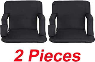 Set of 2 Pcs Black Stadium Seat Modern Comfortable Fold as Backpack Reclining Beach Sitting Park Sporting Events Camping Bleachers Portable Stadium Concert 5 backrest Positions Accessories