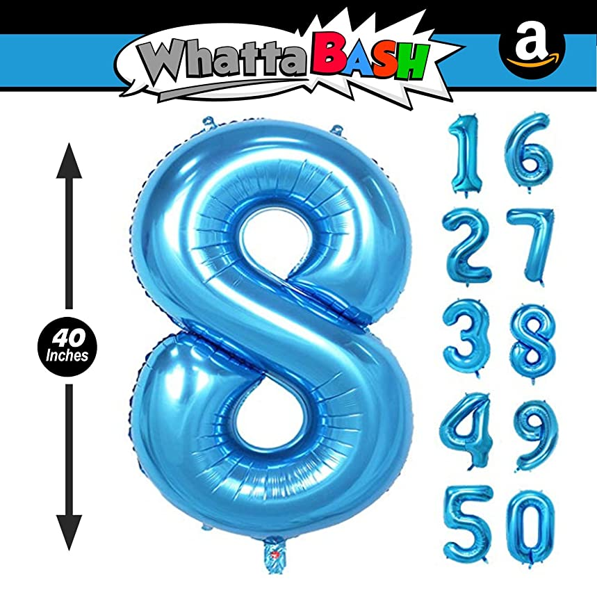 40 Inch Blue Jumbo Number 8 Eight Balloon - Giant Large Balloons Foil Decorations Supplies For Birthday Party Wedding Bridal Shower Anniversary Engagement Photo Shoot Gift Accessories (Blue, Number 8) jny66752275