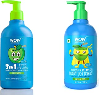 WOW Skin Science Kids 3 in 1 Tip to Toe Wash + Plush & Plump Body Lotion - Green Apple - 600mL combo