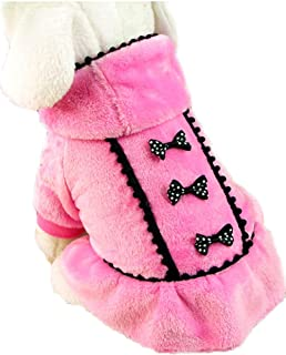 Puppy Pet Dog Winter Hoodie Bowknot Warm Coat Soft Plush Princess Jasmine Dress