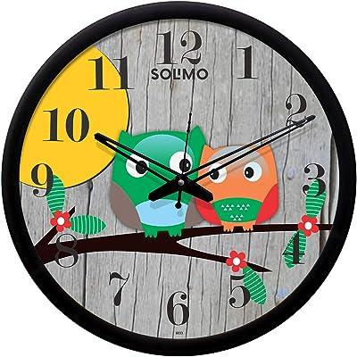 Amazon Brand - Solimo 12-inch Plastic & Glass Wall Clock - Melanie (Silent Movement, Black Frame)