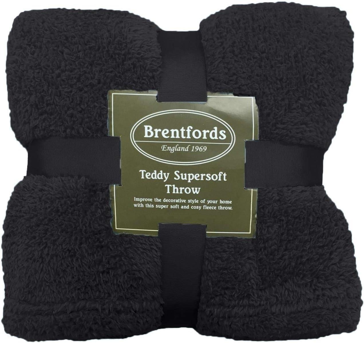 /Überwurf /über Bett warm Brentfords Teddy-Fleecedecke Sofa-Tagesdecke superweich Pl/üsch 125 x 150 cm schwarz gro/ß