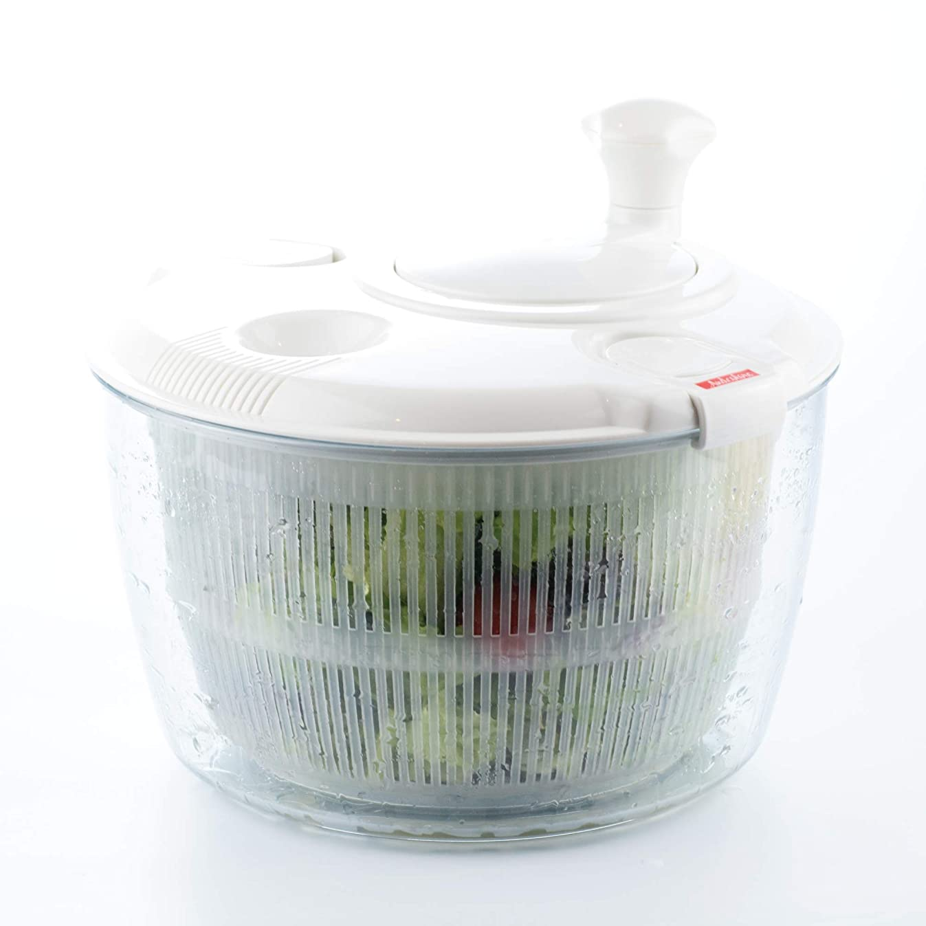 Andcolors Deluxe Salad Spinner Large 4.7 qt Size BPA Free Clips & Locking Tabs for Safety Dry & Drain Lettuce Easily for Crisper Salads in Half the Time Bowl Goes from Prep to Table