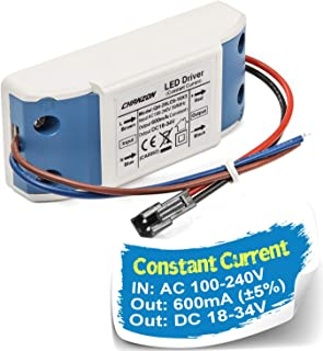 Chanzon LED Driver 600mA (Constant Current Output) 18V-34V (In: 100-240V AC-DC) (6-10)x3W 18W 20W 21W 24W 27W 30W Power Supply 600 mA Lighting Transformer for High Power 20 W COB Chips (Plastic Case)