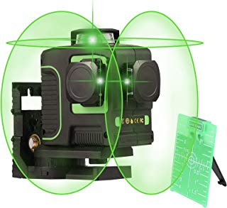 CO-Z Green-Beam Self-Leveling Laser Level, 3 x 360-Degree Cross Line Tool of Two Vertical and One Horizontal Line, 3D 360° Rotary Vertical and One 360° Horizontal Line with Magnet Pivoting Base