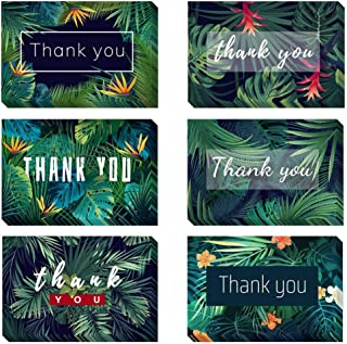 48 Count Green Foliage Thank You Cards with Envelopes Bulk Floral Greeting Cards 6x4 Card Blank Inside Note Cards for Thanksgiving Mothers Day Business Graduation Wedding Bridal Shower Anniversary