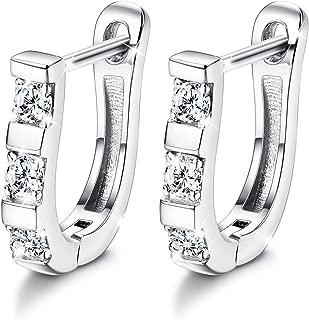 Sets With Swarovski Zirconia Hoop Earrings for Women 925 Sterling Silver Earrings for Sensitive Ears Huggie