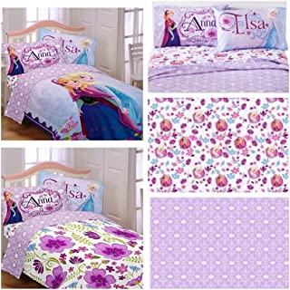 Disney Frozen Celebrate Love 5 Piece Full Bedding Set - Reversible Comforter and Cotton Rich Sheet Set