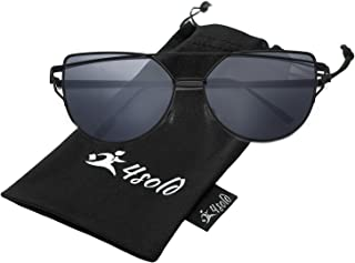 4sold Cat Eye Metal Edge Frame Women Women Fashion Sunglasses Mirrored Lens Women Sunglasses with Gold Frame Pink Lens