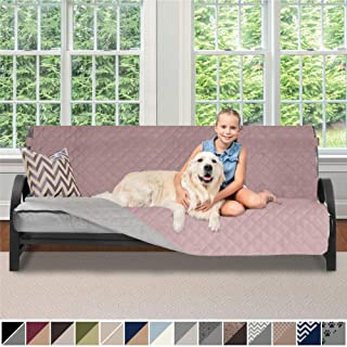 Sofa Shield Original Patent Pending Reversible Futon Slipcover, 2 Inch Strap Hook, Seat Width Up to 70 Inch Washable Furniture Protector, Futons Slip Cover Throw for Pets, Futon, Dusty Rose Linen