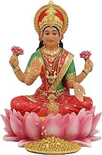 "Ebros Seated Beautiful Hindu Goddess Lakshmi Meditating On Lotus Throne Statue 6.25"" Tall Wife and Shakti of Vishnu Patron..."