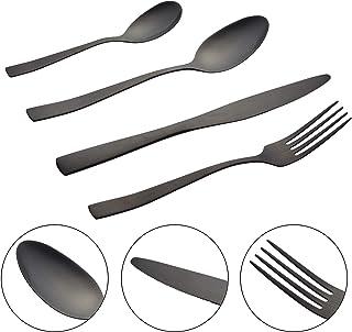 Cepewa Juego de 16 Cubiertos de Acero Inoxidable 430 Cuchillos, Tenedor, Cuchara, Cuchara de diseño, Cubiertos de diseño, Aptos para lavavajillas, para 4 Personas