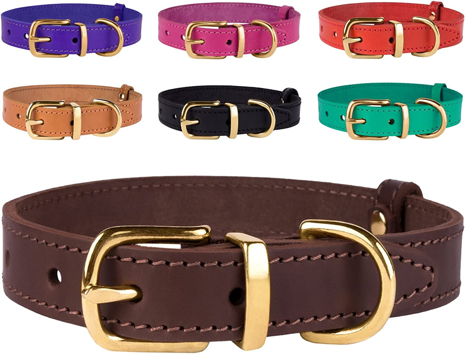 BronzeDog Genuine Leather Dog Collar Adjustable Durable Pet Collars for Dogs Small Medium Large Puppy Black Brown Red Pink Purple Green (Neck Size 9 1 2   12 1 2 , Dark Brown)