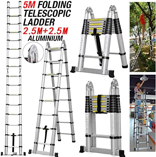 new arrival 5M Portable A-Frame Ladder Multi-Purpose Aluminium Telescopic Folding Compact Extension Portable Heavy Duty online Loft Ladder- 16 Steps 150KG Load Capacity- Extendable 88Cm to lowest 500Cm outlet online sale
