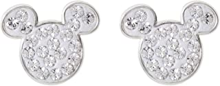 Mickey Mouse Birthstone Jewelry for Women and Girls, Sterling Silver Pave Crystal Stud Earrings (More Colors Available)