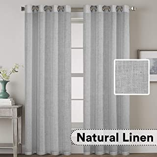 H.VERSAILTEX Nickel Grommet Natural Linen Blended Airy Curtains for Living Room Home Decor Soft Rich Material Light Reducing Bedroom Drape Panels, Set of 2, 52 x 84 -Inch - Dove Pattern
