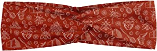 Ambesonne Honeycomb Headband, Pots of Honey Bees and Flowers Pattern in Vintage Style Illustration Outline, Elastic and Soft Women's Bandana for Sports and Everyday Use, Rust and White