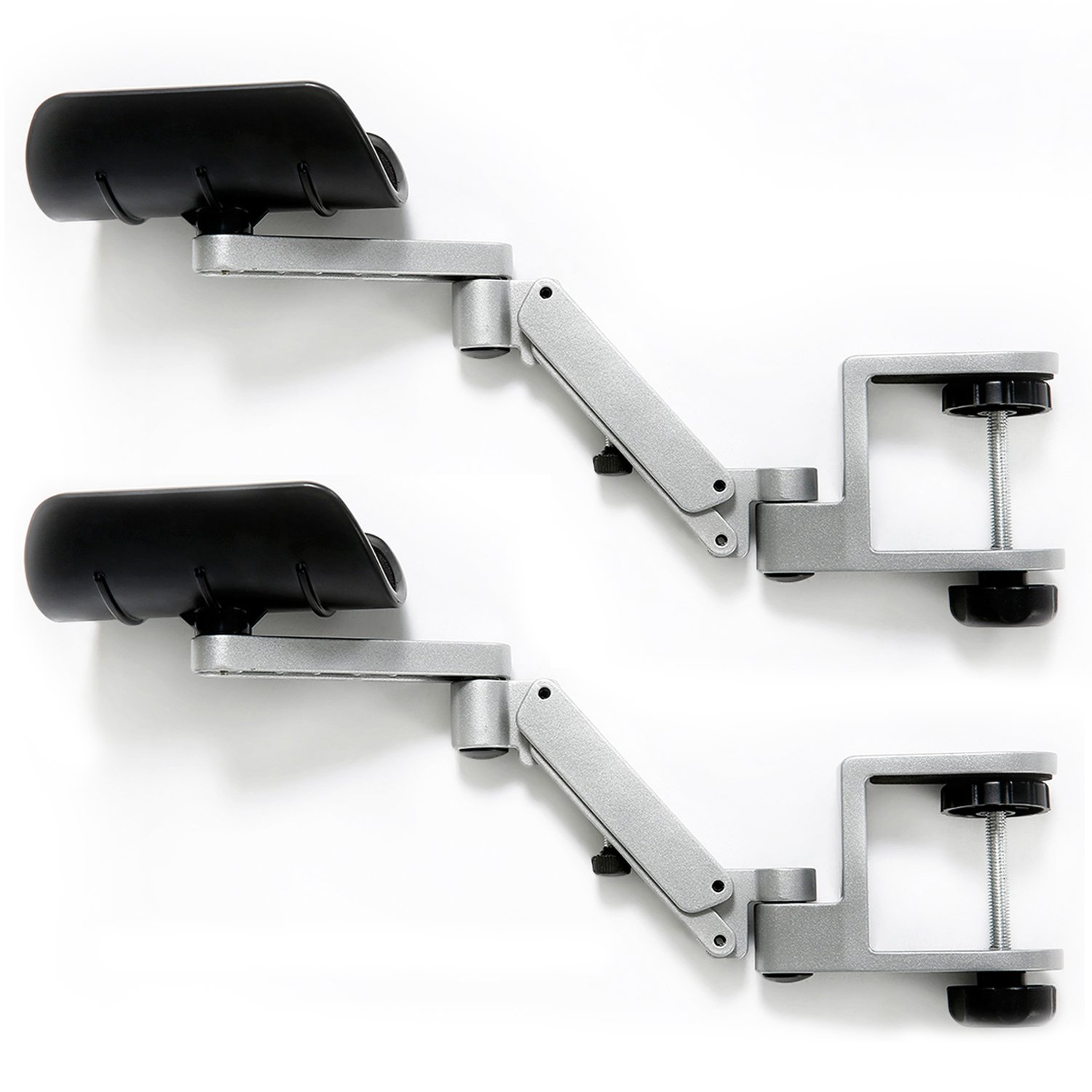 Ergonomically Designed for IT Professional Computer Monitor Working Aluminum Alloy Arm Stand Wrist Rest Rotating Desk Extension Elbow Pad Armrest Patu 2 Packs Sliver Lift Adjustable 1 Pair