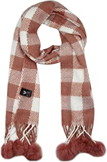 Kids Scarf Winter Warm Shawl Plaid Infinity Cozy Long Scarves Tassel Neck Warmer with Pompoms for Girls Boys