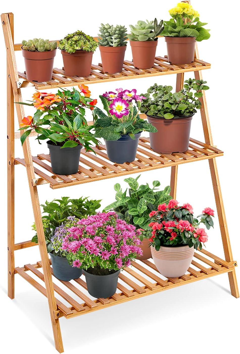 定番の人気シリーズPOINT(ポイント)入荷 Yosooo 3 Tier Folding Bamboo Plant 定番の人気シリーズPOINT ポイント 入荷 Stand Pot Di Shelf with