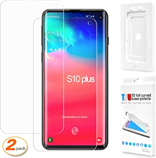 2 Pack Galaxy S10 Plus Screen Protector [3D Full Coverage] [Fingerprint ID Friendly] [Case Friendly] [Bubble-Free] Flexible Film HD Screen Protector for Samsung Galaxy S10 Plus with Installation Tray