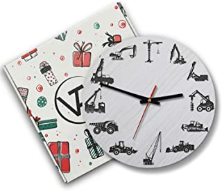 VTH Global 12 Inch Silent Battery Operated Heavy Equipment Wood Wall Clocks Gifts for Operators Husband Boyfriend Dad