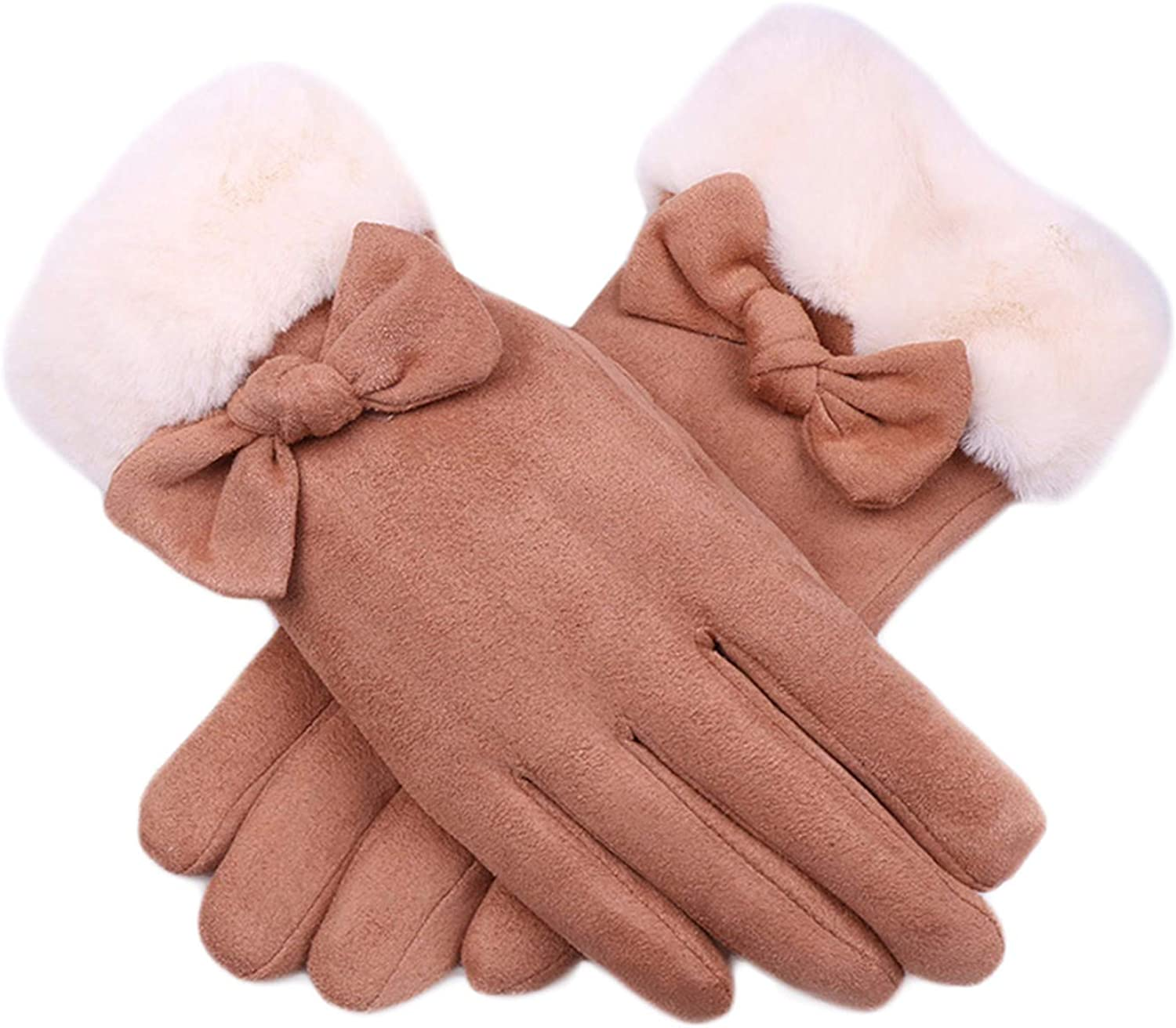 Women Winter Suede Gloves Cold Weather Gloves Soft Warm Plush Lined Touchscreen Gloves Fleece Thermal Gloves