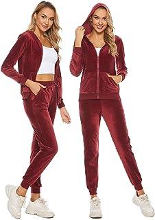 Eilshoji Women's Solid Velour Sweatsuit Set Hoodie and Pants Sport Suits Tracksuits with Pockets S-XXL