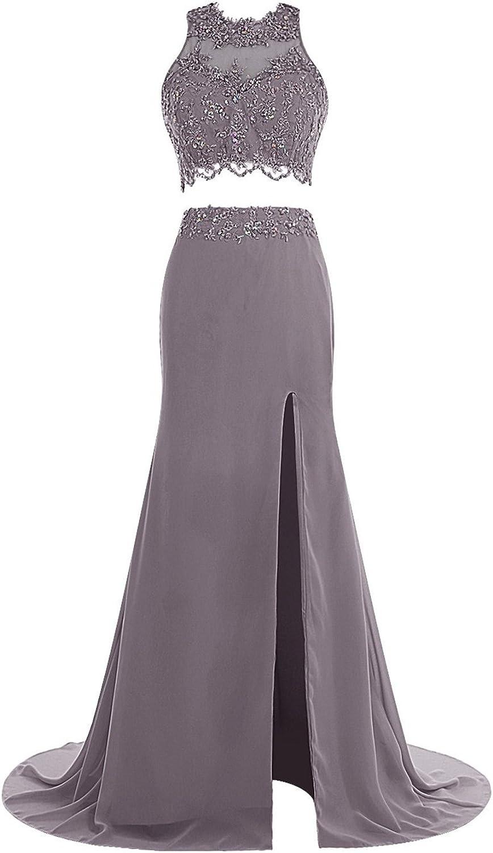 Bess Bridal Women's Long Two Pieces Prom Appliques Split Evening Dress