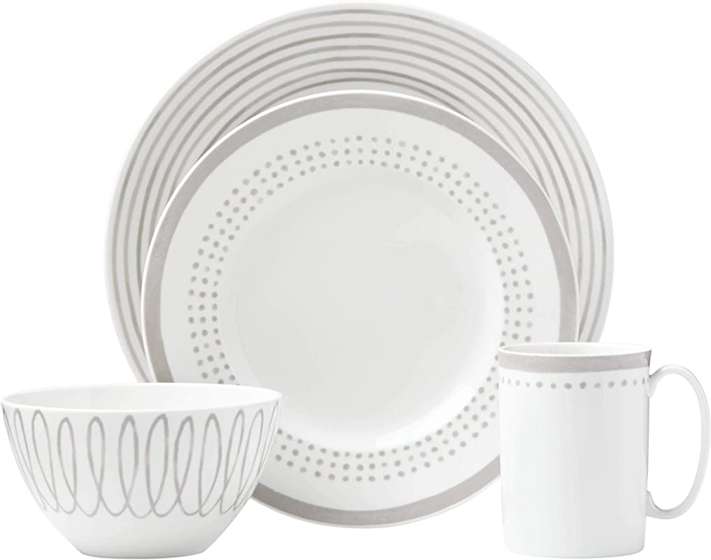 Kate Spade New York 867918 Charlotte Street East Grey 4pc Place Setting White