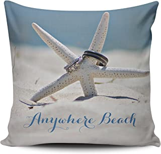 Fanaing Blue Customizable Sunny Beach with Starfish Rings Pillowcase Home Sofa Decorative 18X18 Inch Square Throw Pillow Case Decor Cushion Covers One-Side Printed