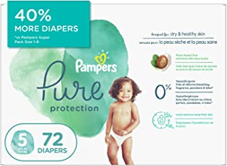 Pampers Diapers Size 5 - Pampers Pure Protection Disposable Baby Diapers, 72 Count, Super Economy Pack