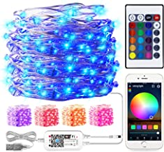 Smart WiFi Control RGB String Light, 32.8ft/10M 100LED USB Copper Wire Lights with Remote, Fairy Christmas Lights, Works w...