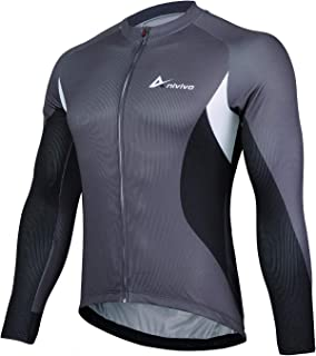 Cycling Jersey Mens Long Sleeve, Men's Bike Jersey Full Zipper Cycling Shirts with Pockets Biking Jersey&Road Bicycle Jersey