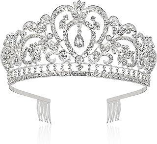 Makone Tiara Corona de Cristal con Diamantes de imitación Peine para Corona Nupcial Proms de Boda desfiles Princesas Fiest...