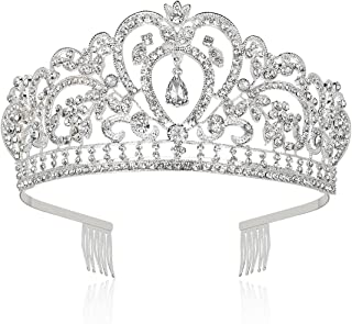 Makone Crystal Crowns and Tiaras with Comb for Girl or Women Birthday Party Wedding Tiaras (Style-6)