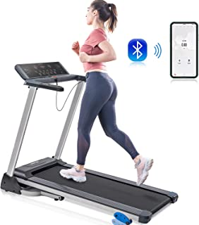 Merax Folding Electric Motorized Running Treadmill, Jogging Walking Machine with Bluetooth Function, Speakers, 15 Preset Programs, Incline Adjustment and Downloadable Sports App (Black)