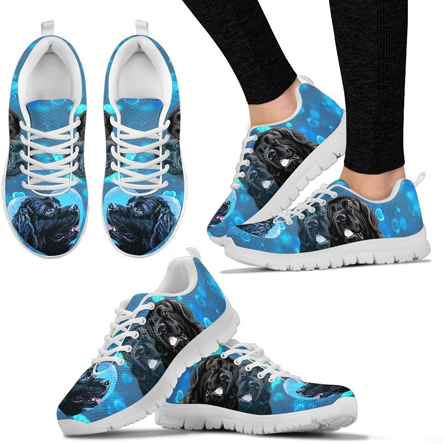 Pet By You Womens Running shoes - Lightweight Breathable Mesh Fabric Fashion Sneakers for Woman - Snug Fit Lace Closure Women Athletic shoes with Valentine's Day Special Newfoundland Dog Designs