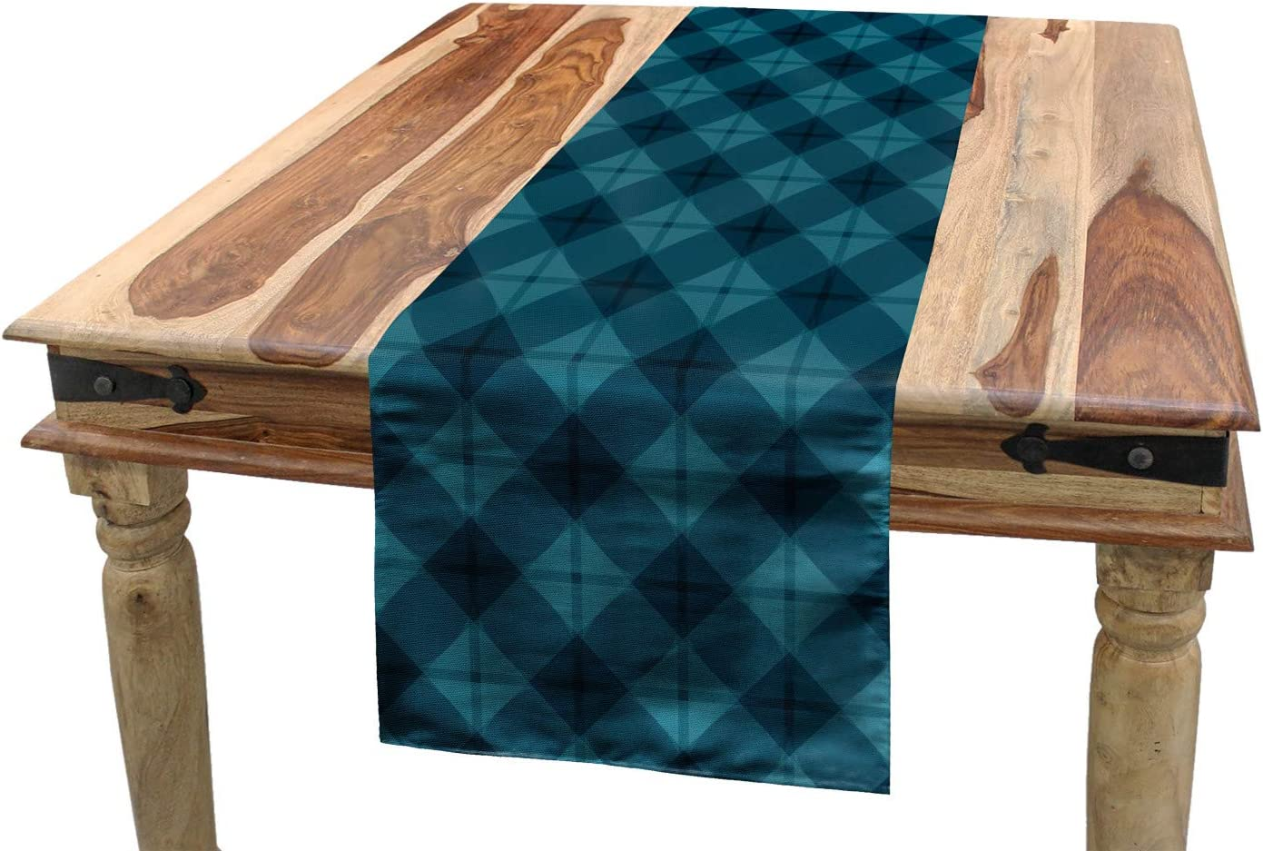 Amazon Com Ambesonne Dark Teal Table Runner Simple And Geometric Shapes Graphical Ornate Dining Room Kitchen Rectangular Runner 16 X 120 Petrol Blue Dark Teal Home Kitchen