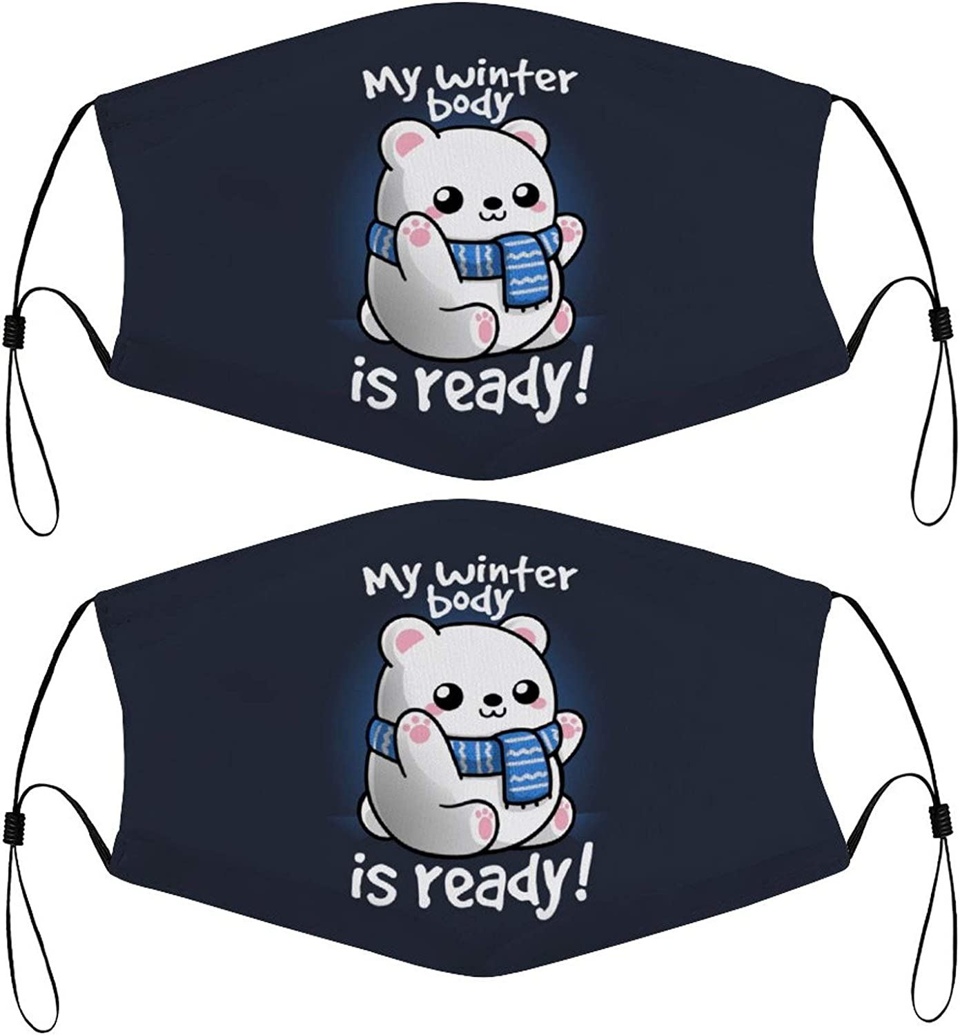Cute Polar Bear Ready for Winter Funny Kids Face Masks Set of 2 with 4 Filters Washable Reusable Breathable Black Cloth Bandanas Scarf for Unisex Boys Girls
