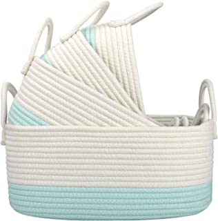 LA JOLIE MUSE 15 Inch Cotton Rope Woven Storage Basket Set of 4, Stackable Multipurpose Organizer Bins with Handles, White...