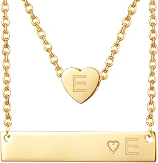 FIBO STEEL 2 Pcs Gold Plated Stainless Steel Initial Heart Bar Necklace 26 Letter Alphabet Pendant for Women Christmas Jew...