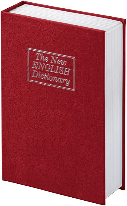 Caja fuerte con llave Hama. Caja fuerte en forma de libro con compartimento secreto. Con aspecto de The new English Dictionary. Caja fuerte. Color: Rojo: Amazon.es: Oficina y papelería