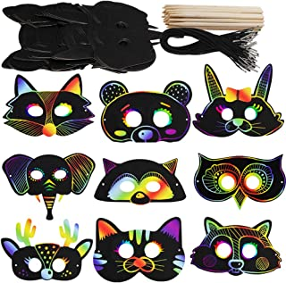 Supla 27 Set Magic Scratch Art Rainbow Scratch Paper Animal Masks Owl Rabbit Tiger Wolf Bear Squirrel Fox Bear Elephant Cutouts Face Masks with Holes with Elastic Cords Scratching Tool for Kids Jungle Forest Animal Birthday Party