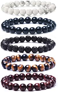 Natural Lava Rock Beads Bracelet,Stretch Elastic Bracelets,Adjustable Braided Rope Gemstone Bracelets for Men Women