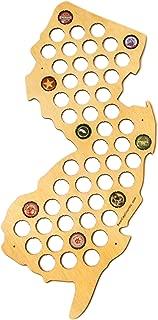 New Jersey Beer Cap Map - NJ Craft Beer Cap Holder, Gifts for Men