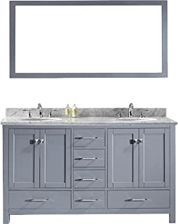 Virtu USA Caroline Avenue 60 inch Double Sink Bathroom Vanity Set in Grey w/Round Undermount Sink, Italian Carrara White Marble Countertop, No Faucet, 1 Mirror - GD-50060-WMRO-GR