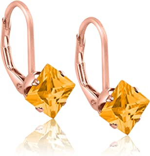 Square 3x3mm Simulated Golden Yellow Citrine Rose Gold Plated Sterling Silver Stud Earrings